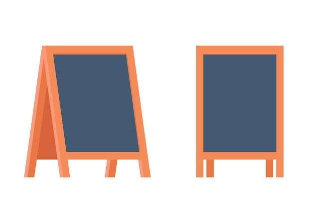 Blank sandwich board stand chalkboard for special menu announcement or education clean blackboard