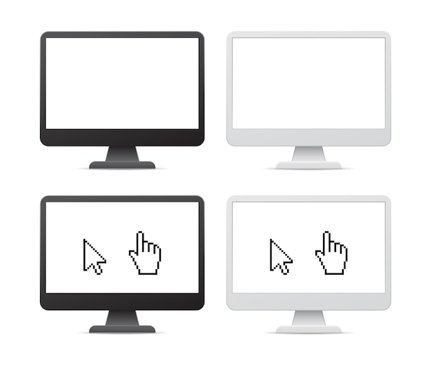 Blank screen computer monitor 3d icon