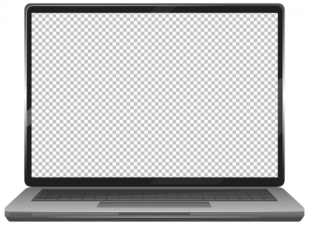 Blank screen laptop gadget icon  on white background