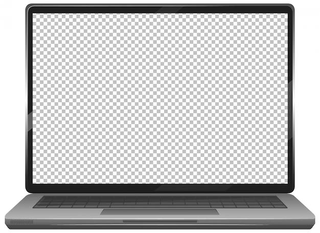 Icona del gadget del computer portatile dello schermo in bianco su fondo bianco