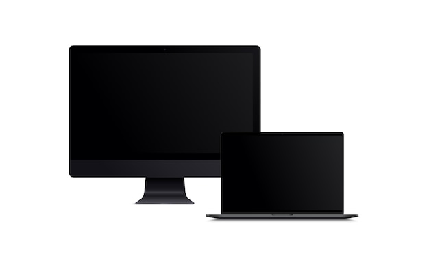 Blank screen of lcd monitor and black laptop