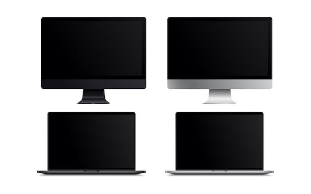 空白の画面の液晶モニタースペースグレーとシルバースタイルのコンピューターのモックアップ。ウェブサイトのプレビューのための白い背景のリアルなイラスト。プレゼンテーションなど。