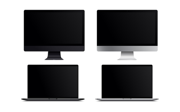 Blank screen lcd monitor space grey and silver style computer mockup. realistic illustration  on white background for website preview; presentation etc.  .