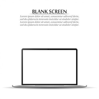 Blank screen. realistic laptop on white