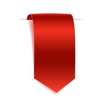 빈 스크롤 종이 배너. 흰색 바탕에 빨간 종이 리본. 현실적인 레이블.
