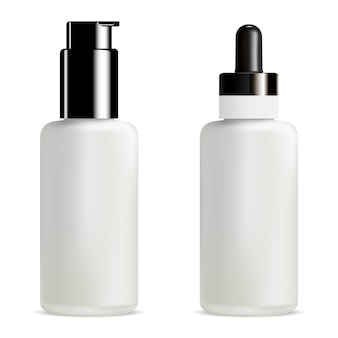Blank serum and foundation dropper bottle. pump jar. 3d