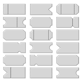 Blank shapes of tickets. templates movie, cinema.