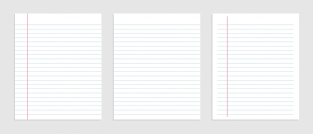 Blank sheet of lined notebook paper set