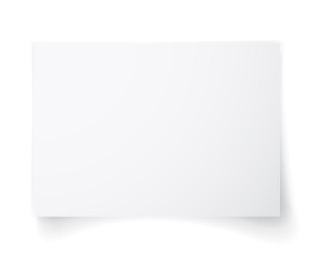 影付きの白い紙の白紙、あなたのテンプレート。セットする。