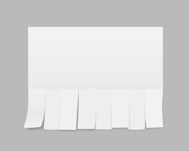 Blank sheet paper advertising, tear-off cut slips.