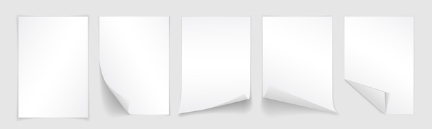 Blank sheet of white paper with curled corner and shadow, template for your design. set.