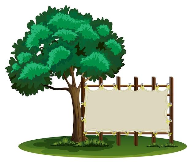 Cartello bianco accanto all'albero