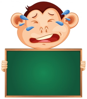 Blank sign template with crying monkey on white background