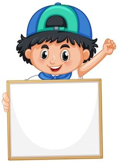 Blank sign template with cute boy on white background