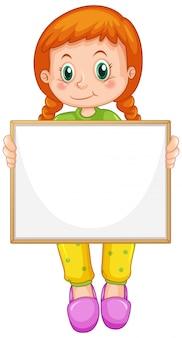 Пустой шаблон знака с милой девушкой на белом фоне