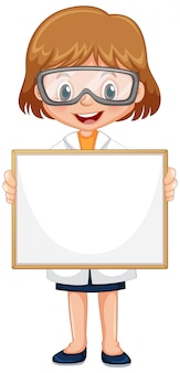 Blank sign template with cute girl on white background
