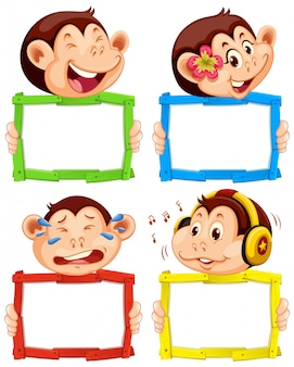 Blank sign template with cute monkeys on white background