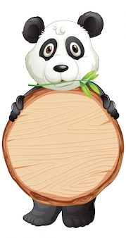 Modello in bianco del segno con il panda sveglio su fondo bianco