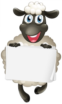 白い背景の上のかわいい羊と空白記号テンプレート