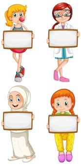 Modello di segno in bianco con bambini felici su sfondo bianco