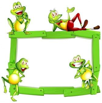 Blank sign template with happy frogs on white background