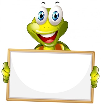 Blank sign template with happy turtle on white background