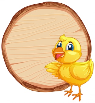 Blank sign template with little chick on white background