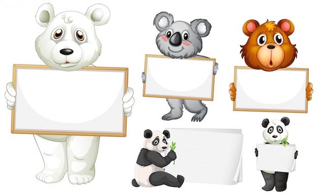 白い背景の上の多くの動物と空白記号テンプレート