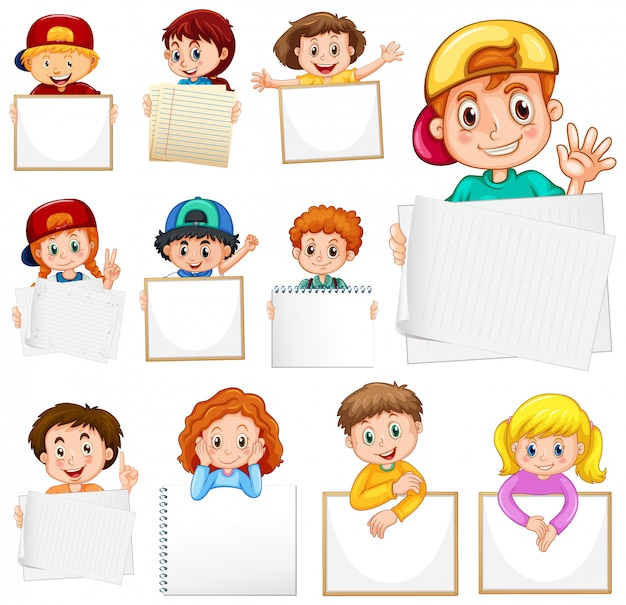白い背景の上の多くの子供たちと空白記号テンプレート
