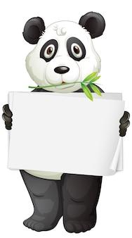 Modello di segno in bianco con panda su sfondo bianco