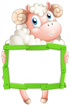 白い背景の上の羊と空白記号テンプレート