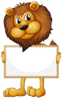 白い背景の上の野生のライオンと空白記号テンプレート