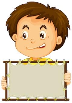 Blank sign with cute boy
