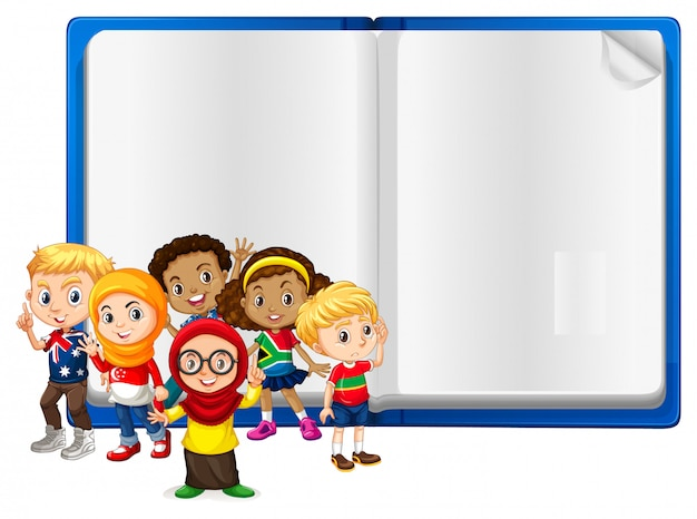 Blank sign  with kids and book