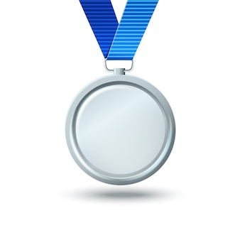 Blank silver medal on a blue ribbon. template for about the award for the victory
