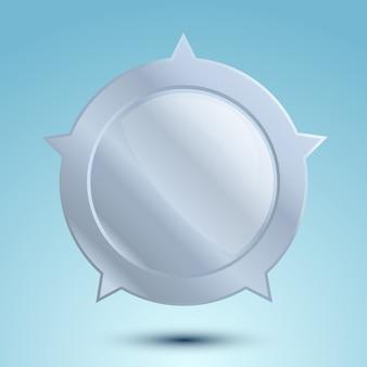 Medaglia d'argento in bianco o distintivo vuoto isolato