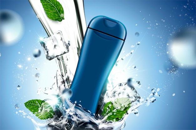 Чистый продукт по уходу за кожей с брызгами воды и листьями мяты на синем фоне, динамический эффект