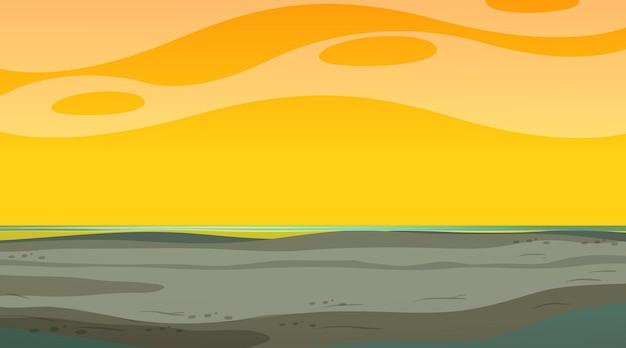Пустое небо во время заката сцены с пустым пейзажем наводнения