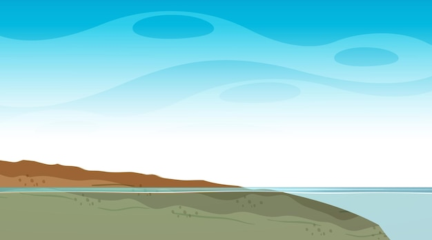 Blank sky at daytime scene with blank flood landscape