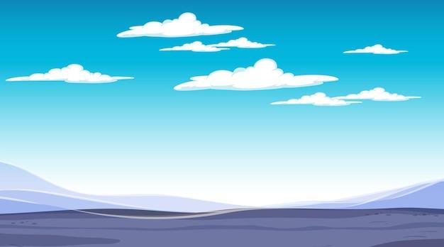 Cielo vuoto nella scena diurna con paesaggio alluvionale vuoto