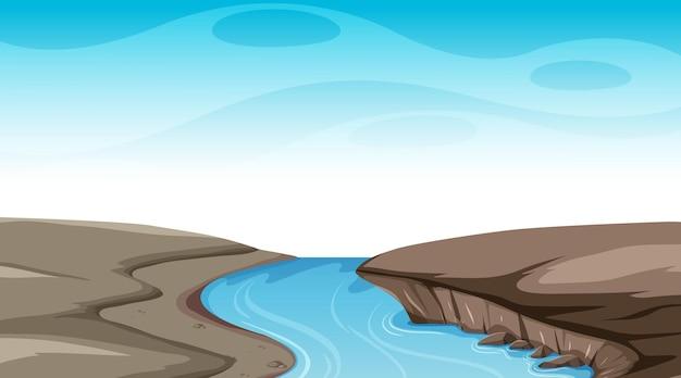 Cielo vuoto nella scena diurna con il fiume che scorre attraverso il terreno