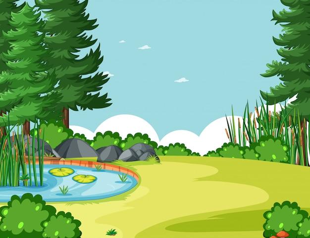 ツリーと自然公園のシーンの空白の空