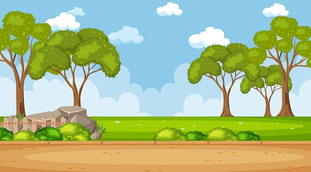 木々がたくさんある公園のシーンの空白の空