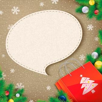 크리스마스 종이 봉지에서 나온 빈 연설 거품