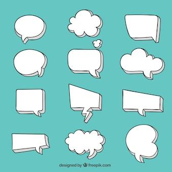 Blank speech bubble collection Free Vector