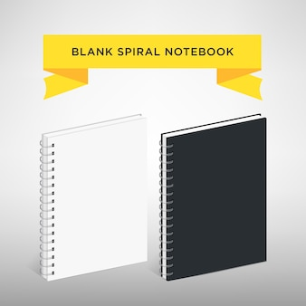 Blank spiral notebook template vector illustration. white and black color.