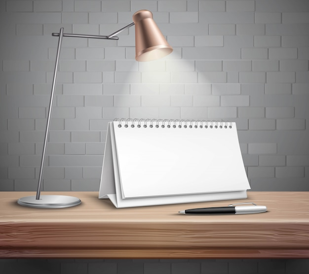 Blank spiral paper desk calendar pen and lamp