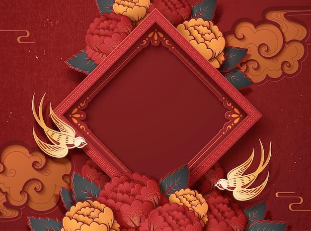 新年のデザインの空白の春の二行連句と牡丹の花の背景