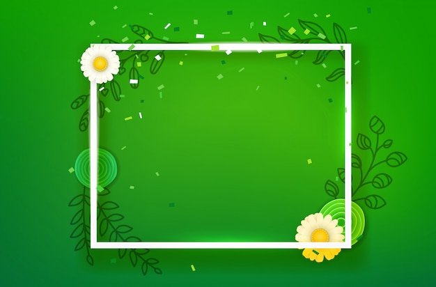 Blank square frame on green