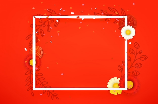 Blank square frame on red background.
